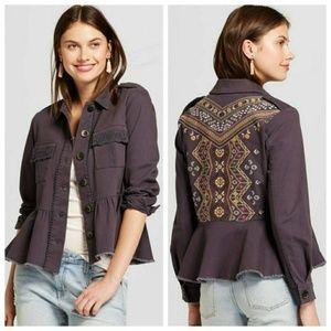 Knox Rose Embroidered Peplum Jacket Top
